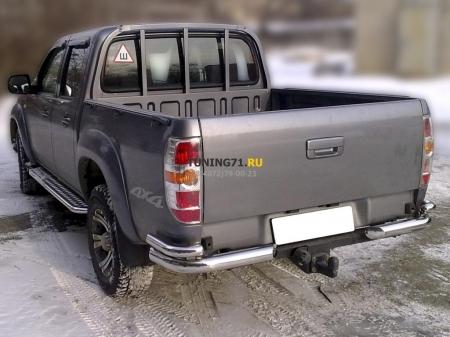 """Mazda BT-50 2006-наст.вр.-Защита заднего  бампера  """"уголки"""" d-76+53"""